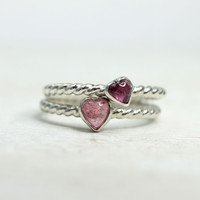 Heart Tourmaline Ring in Sterling Silver