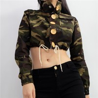 Sports On Sale Hot Deal Jacket Winter Women's Fashion Camouflage Zippers Crop Top Baseball [11980274959]