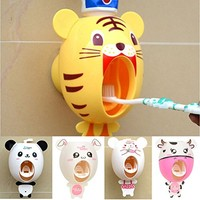BigNoseDeer baby Toothbrush Dispensers ,kids Hands Free Toothpaste Dispenser children Automatic Cartoon Cute Animal Toothpaste Squeezer Good Gift for Children (Tiger)