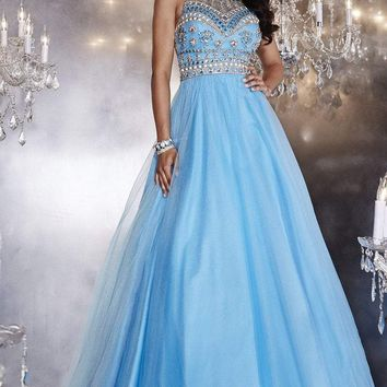 Panoply - 14767 Bead Embellished Choker Neck Tulle Ball Gown