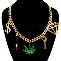 "Gold ""GANGSTER CHARM"" Bling Rhinestone Statement Necklace Metal Link Chain"
