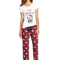 Hello Kitty Juniors Nerds Plaid Pant Set, Red/White, Medium
