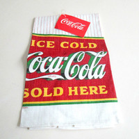 Coca Cola Linen Kitchen Towel Vintage 1990 / Ice Cold Coca Cola Sold Here New Deadstock Collectible