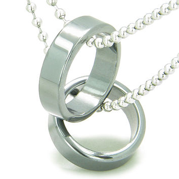 Amulet Love Set Simulated Hemalyke-Hematite Crystal Rings Friendship Pendant Necklace