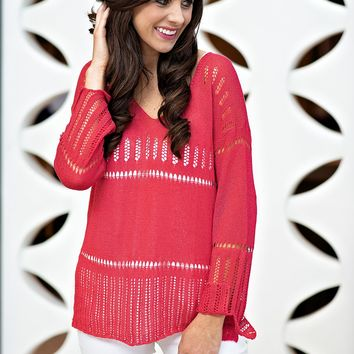 Love On Top V Neck Sweater : Coral