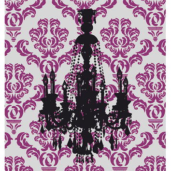 Chandelier art print Victorian style Paris chic decor Gray and Mauve Damask pattern Poster Black silhouette art Bathroom Art Home decor