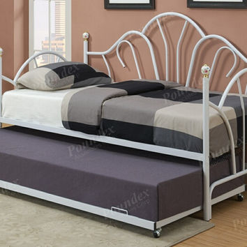 Poundex F9235-36 Gloss white finish metal twin size day bed frame with trundle frame