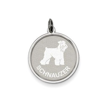 Sterling Silver Laser Etched Schnauzer Dog Pendant, 19mm