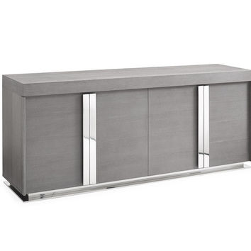 Maurice Buffet in Gray oak veneer and polished stainless steel