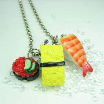 Sushi Necklace Ebi, Tamago and Ikura - Food jewelry , food necklace