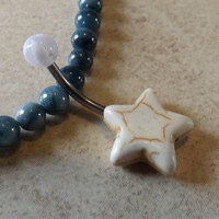 White Stone Star belly Button Navel Ring Body Jewelry 14ga