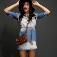 Denim River Wash Belted Tunic