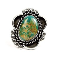 Navajo Nelson Begay NA Sterling Silver Royston Turquoise Single Stone Ring 6.25
