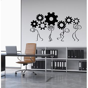 Vinyl Wall Decal Cartoon People Gears Home Office Decor Teamwork Stickers (3238ig)