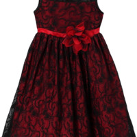 Red Satin with Black Floral Lace Overlay Occasion Dress (Girls Sizes 2T - 12)