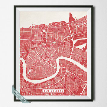 New Orleans Print, Louisiana Poster, New Orleans Poster, New Orleans Map, Louisiana Print, Street Map, Louisiana Map, Wall Art