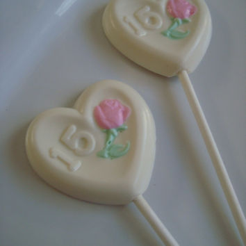 12 Chocolate Heart Shaped Number 15 Lollipop Fifteen Birthday Party Favors Quinceanera Rose