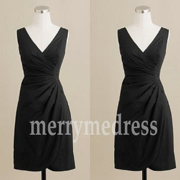 Black V-Neck Wide Straps A-Line Short Bridesmaid Dress, Mini Chiffon Formal Evening Party Prom Dress New Homecoming Dress