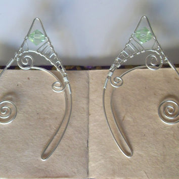 Silver Plated Handmade Wire Wrapped Mint Green Swarovski Elf Ear Cuffs, Wire Weave, Spiral, Elven Ears, LARP, Fantasy Wedding