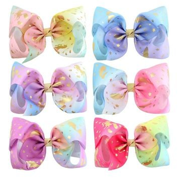Mermaid Unicorn Print Jumbo Jo jo Bows 6 PCS 8 inch Huge Hand-Made Hair Bows For Thick Hair Women Hair Accessories For Teens