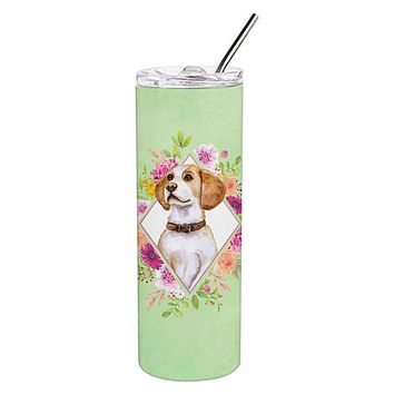 Beagle Green Flowers Double Walled Stainless Steel 20 oz Skinny Tumbler CK4277TBL20