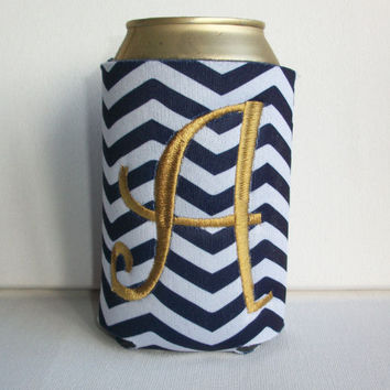 Monogrammed Custom Can navy blue chevron Koozie -  Personalized Embroidered Monogram Coozie - gift for her drink holder