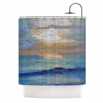 "Carol Schiff ""Ocean Sunset"" Blue Coastal Shower Curtain"
