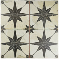 "EliteTile Galactic 17.63"" X 17.63"" Ceramic Field Tile in Black"