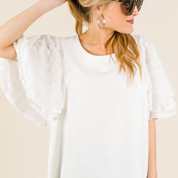 Dotted Sleeves Top, White