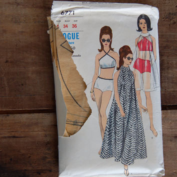 Two Piece Bathing Suit and Coverup Pattern, Vogue Pattern 6771, c. 1966