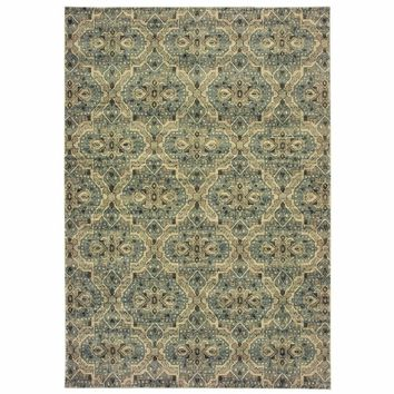 Raleigh Ivory Blue Geometric Distressed Casual Rug