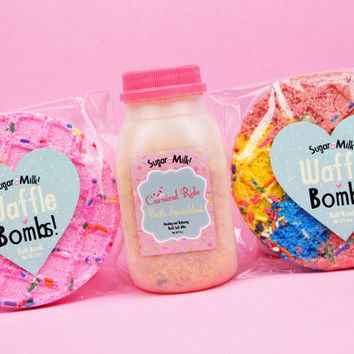 Waffle Bath Bombs and Bath Sprinkles Gift Set / Bath Bomb / Bath Salts
