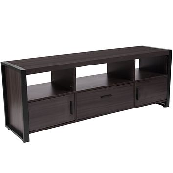 Thompson Collection Wood Grain Finish TV St Media Console Metal Frame