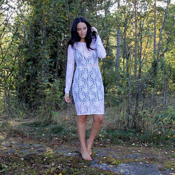 Long sleeves white lace dress, white lace dress, long sleeves dress, bodycon dress, color block dress, lace dress, white dress, Elena dress.