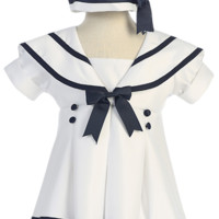 White Nautical Sailor Dress with Navy Blue Trim, Pleated Front & Beret Style Hat (Little Girls 3 months - size 5)