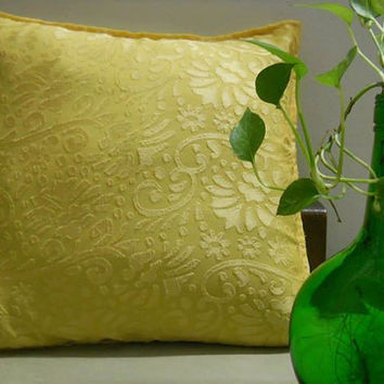 Decorative Throw Pillow cover Accent Pillows of Size 16 x 16 Bright Yellow with Self Floral Print Pillow Cover Cushion Cover Home Décor