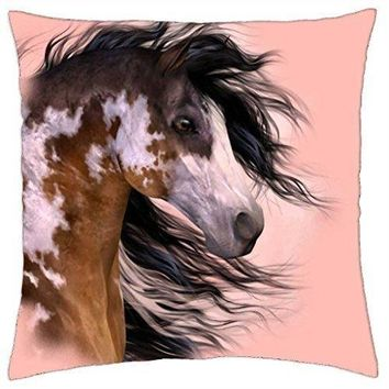 Tricolored Paint Horse F2 - Throw Pillow Cover Case (18