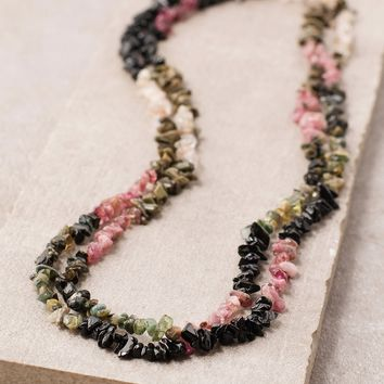 Rainbow Tourmaline Gemstone Nugget Necklace