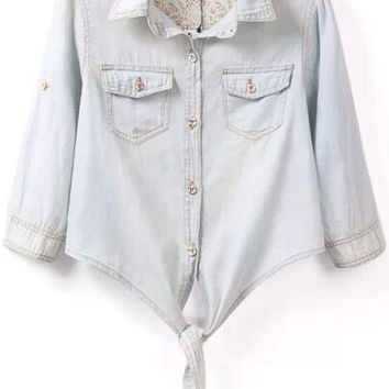 Light Blue Shirt Collar Knotted Cropped Denim Half Sleeve Blouse