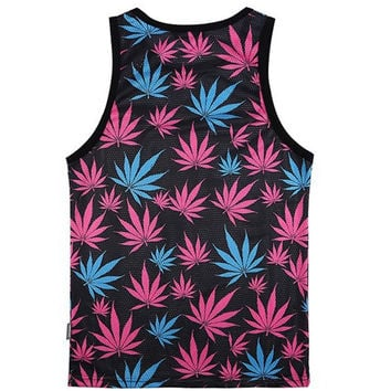 Blue and Pink Weed Tank