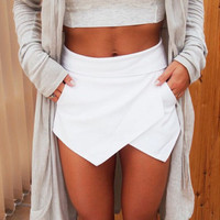 Mini Asymmetrical Trendy Mini Skorts Shorts