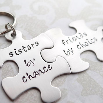Sisters By Chance, Friends By Choice Matching Keychains. Handstamped Stainless Steel Keychain.