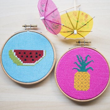 Watermelon and Pineapple- Cross Stitch embroidery pattern PDF- Instant Download