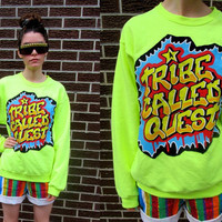 TRIBE Called QUEST 90's DIY Neon Florescent Yellow Fresh Prince Sweatshirt