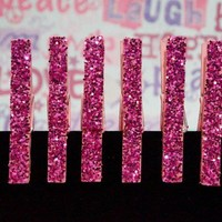 6 Clothespin Magnet Clips in Chunky PINK Glitter. A TON OF OPTIONS!