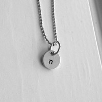 Sample Sale, n Necklace, Tiny Initial Necklace, Hand Stamped Initial, Letter n Necklace, Charm Necklace, Sterling Silver Jewelry
