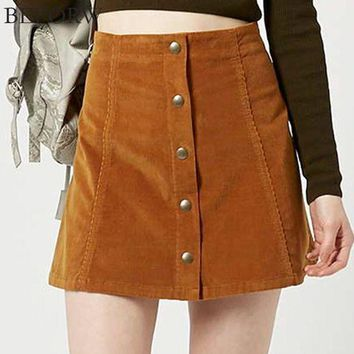CREYCI7 Women Casual Skirt 2017 Party Mini Womens High Waist Short Skirts Autumn Button Lace Up Suede Leather Skirt