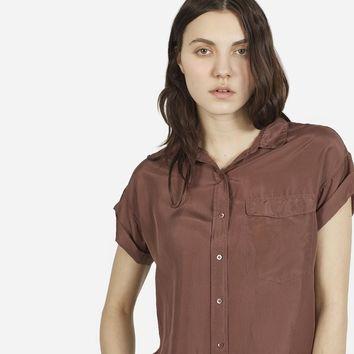 Women's Habotai Silk Short Sleeve - Chestnut