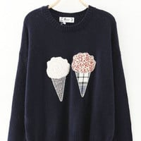 Black Ice-Cream Cone Soft Cropped Sweater
