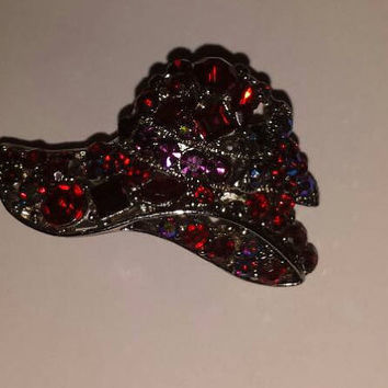 All Over Multicolor RHINESTONE Hat  Brooch Pin Jewelry/ Valentine Gift/ Gift for her/shimmery jewelry/ bling accessory/Trendy Chic